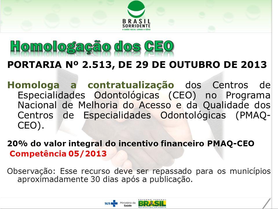 Homologação dos CEO PORTARIA Nº 2.513, DE 29 DE OUTUBRO DE 2013