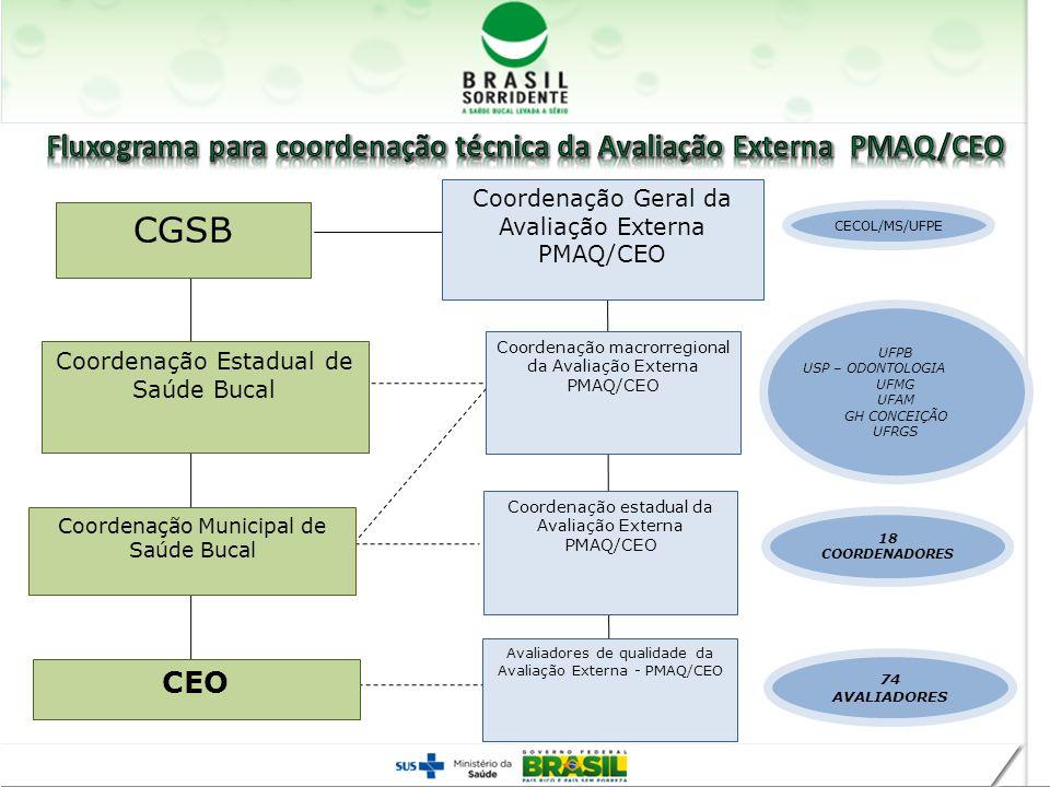 Fluxograma para coordenação técnica da Avaliação Externa PMAQ/CEO