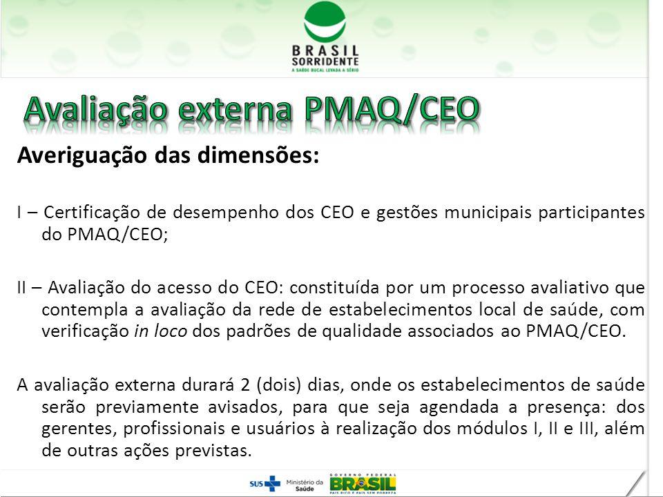 Avaliação externa PMAQ/CEO