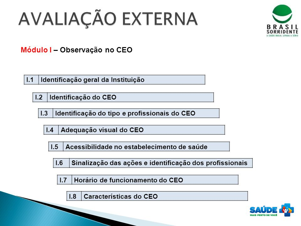 AVALIAÇÃO EXTERNA Módulo I – Observação no CEO I.1