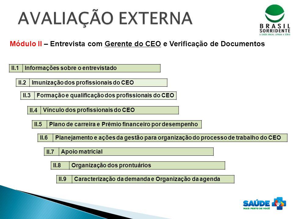 AVALIAÇÃO EXTERNA Módulo II – Entrevista com Gerente do CEO e Verificação de Documentos. II.1. Informações sobre o entrevistado.