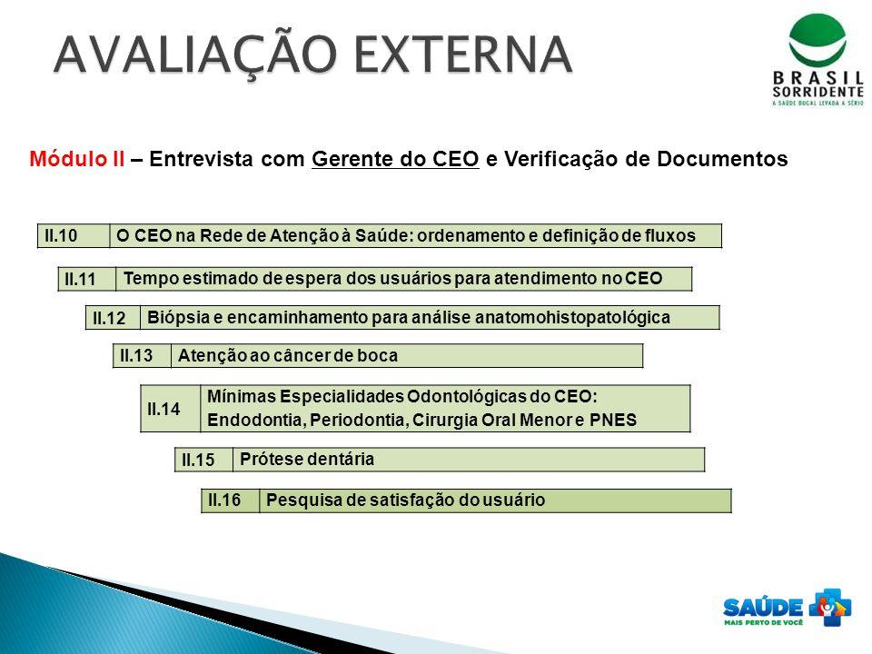 AVALIAÇÃO EXTERNA Módulo II – Entrevista com Gerente do CEO e Verificação de Documentos. II.10.