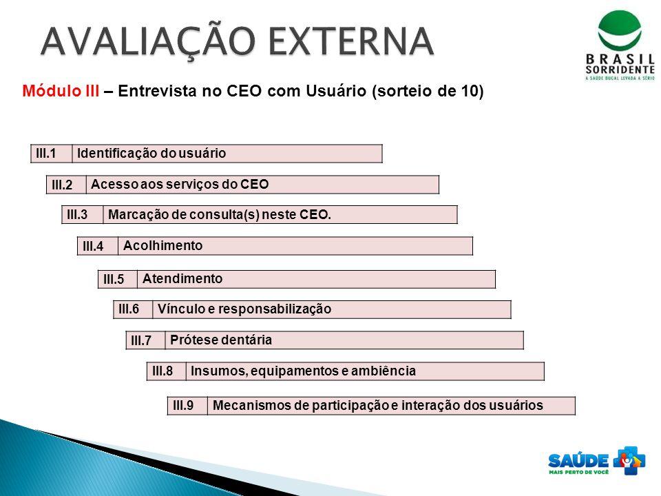 AVALIAÇÃO EXTERNA Módulo III – Entrevista no CEO com Usuário (sorteio de 10) III.1. Identificação do usuário.