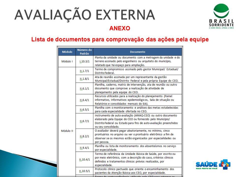 Lista de documentos para comprovação das ações pela equipe