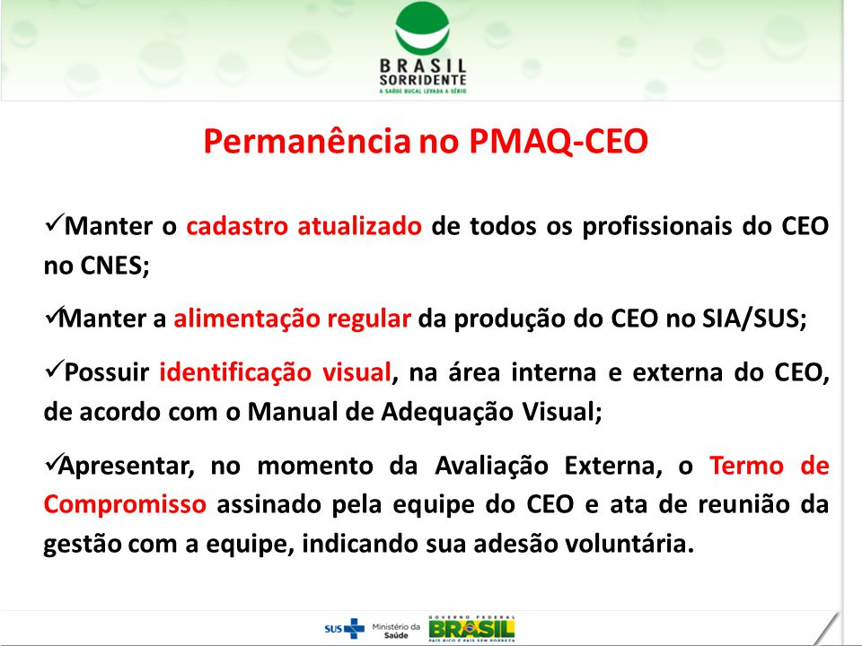 Permanência no PMAQ-CEO