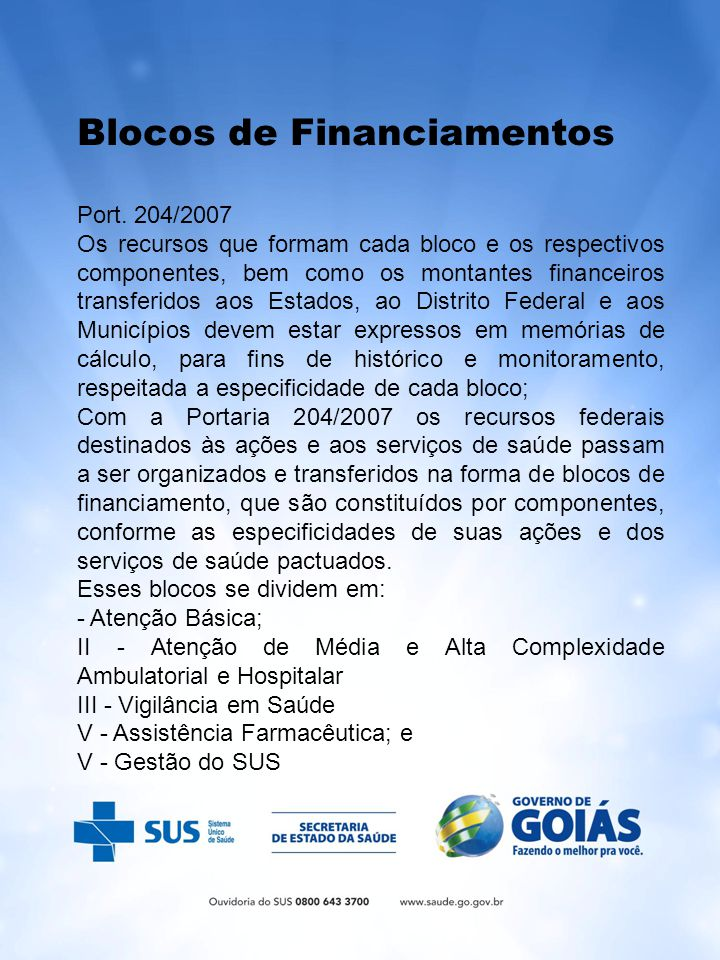Blocos de Financiamentos