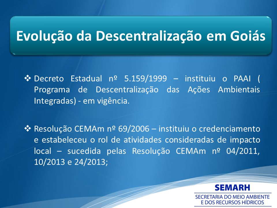 Evolução da Descentralização em Goiás