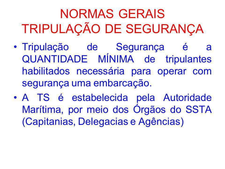 NORMAS GERAIS TRIPULAÇÃO DE SEGURANÇA