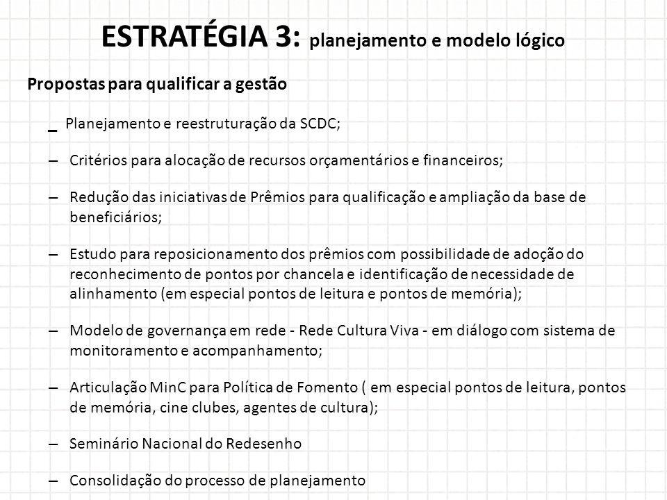ESTRATÉGIA 3: planejamento e modelo lógico