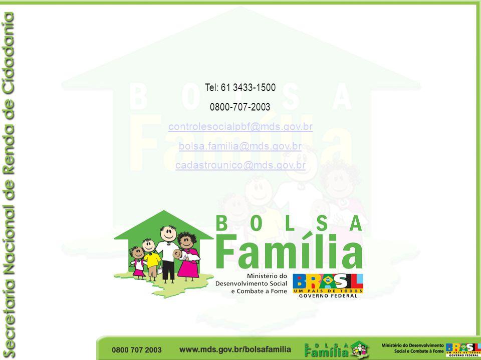 Tel: 61 3433-1500 0800-707-2003 controlesocialpbf@mds.gov.br