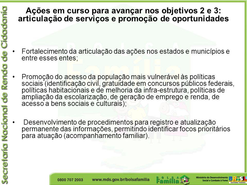 Ações em curso para avançar nos objetivos 2 e 3: articulação de serviços e promoção de oportunidades