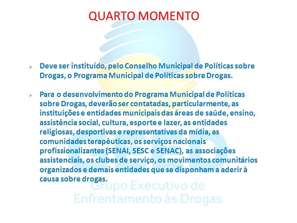 QUARTO MOMENTO Deve ser instituído, pelo Conselho Municipal de Políticas sobre Drogas, o Programa Municipal de Políticas sobre Drogas.