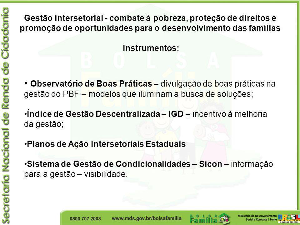 Gestão intersetorial - combate à pobreza, proteção de direitos e promoção de oportunidades para o desenvolvimento das famílias