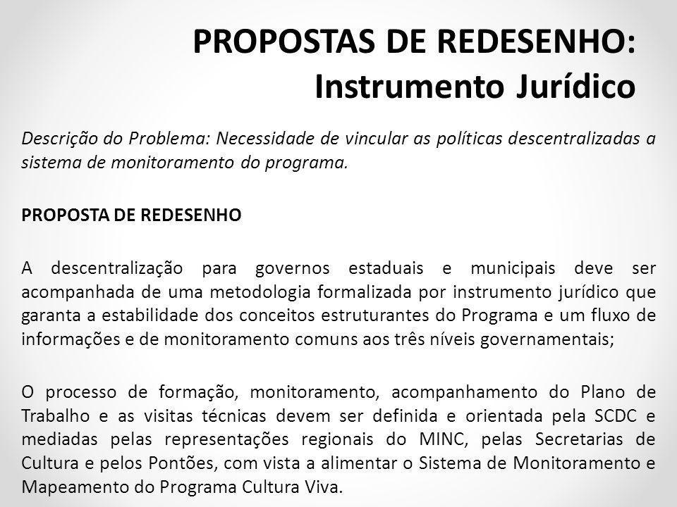 PROPOSTAS DE REDESENHO: Instrumento Jurídico
