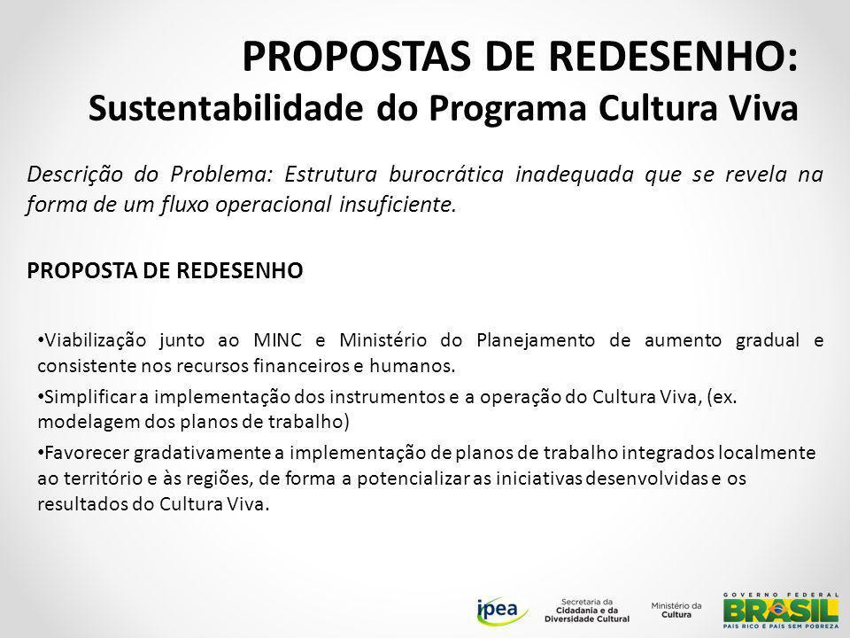 PROPOSTAS DE REDESENHO: Sustentabilidade do Programa Cultura Viva