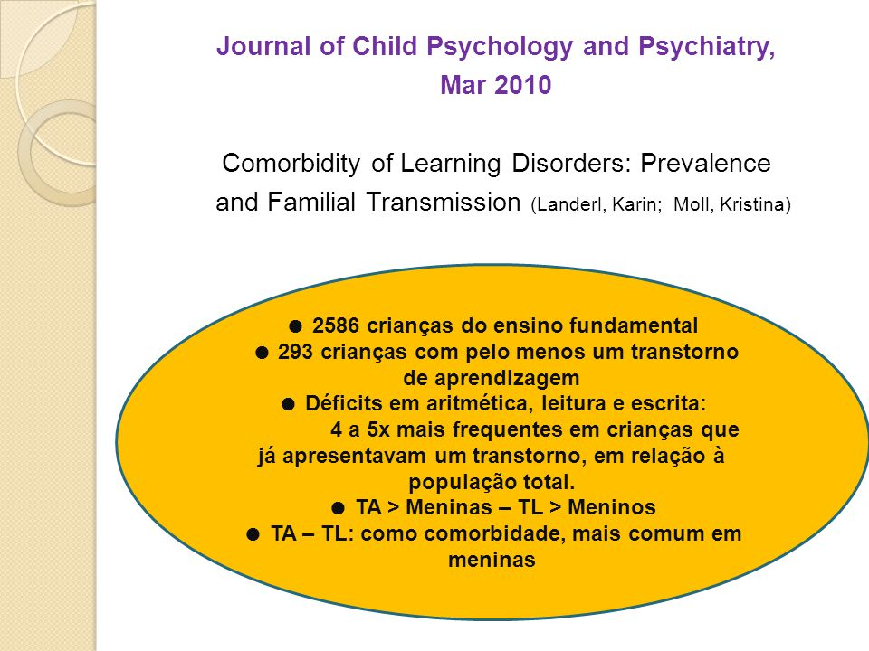 Journal of Child Psychology and Psychiatry, Mar 2010 Comorbidity of Learning Disorders: Prevalence and Familial Transmission (Landerl, Karin; Moll, Kristina)