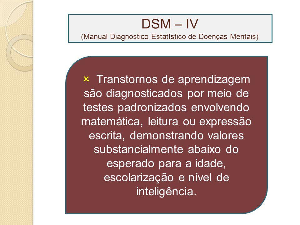 DSM – IV (Manual Diagnóstico Estatístico de Doenças Mentais)