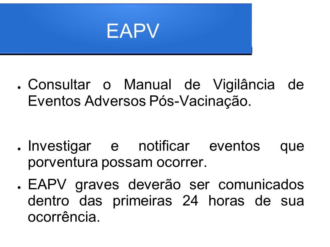 EAPV Consultar o Manual de Vigilância de Eventos Adversos Pós-Vacinação. Investigar e notificar eventos que porventura possam ocorrer.