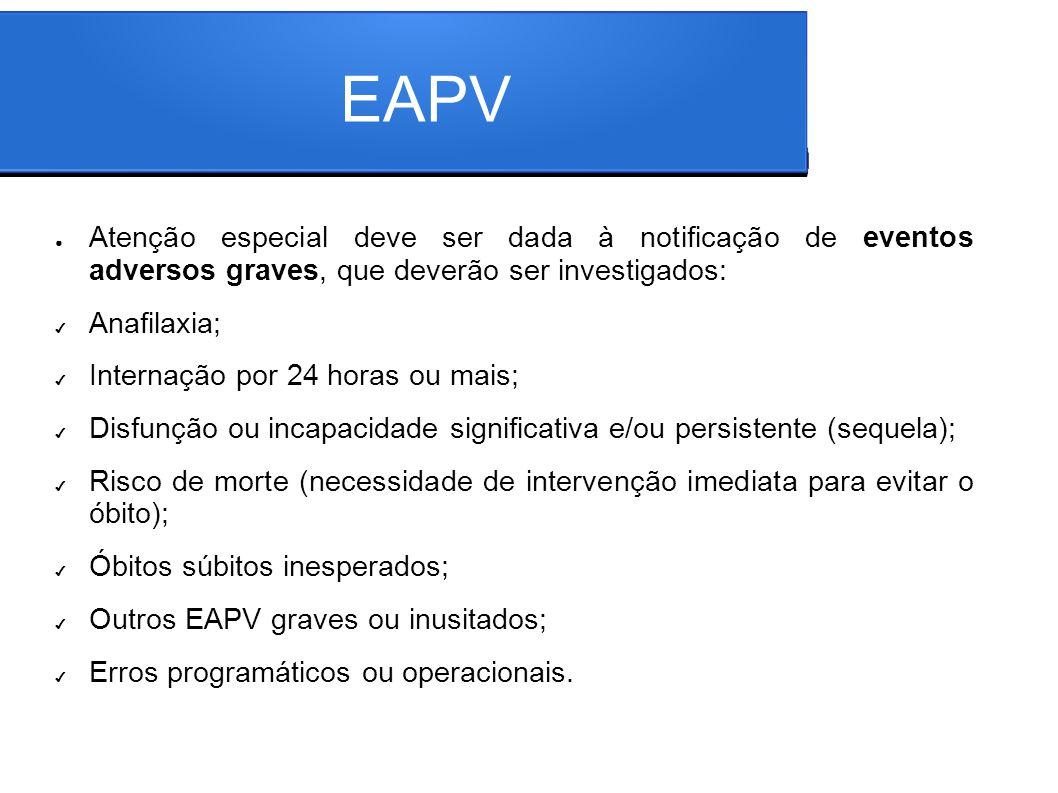 EAPV Atenção especial deve ser dada à notificação de eventos adversos graves, que deverão ser investigados: