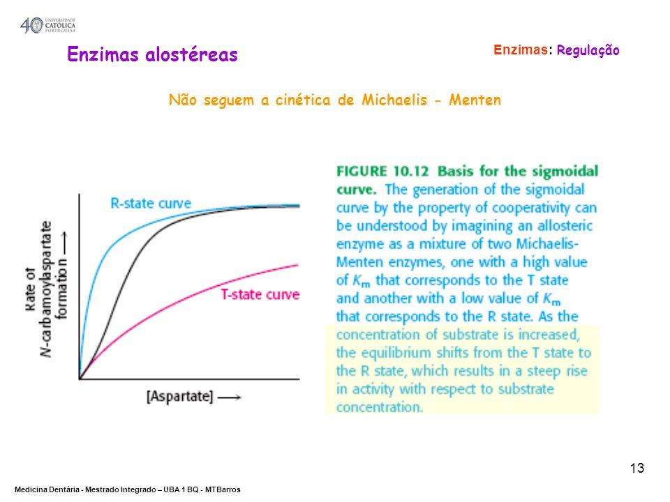 Enzimas alostéreas Não seguem a cinética de Michaelis - Menten