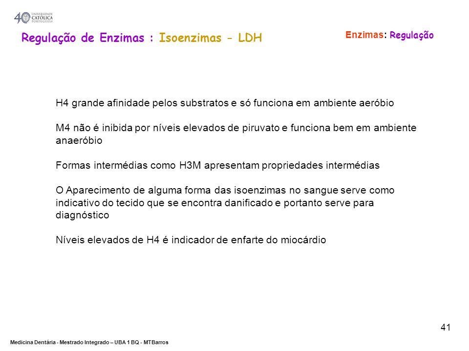 Regulação de Enzimas : Isoenzimas - LDH