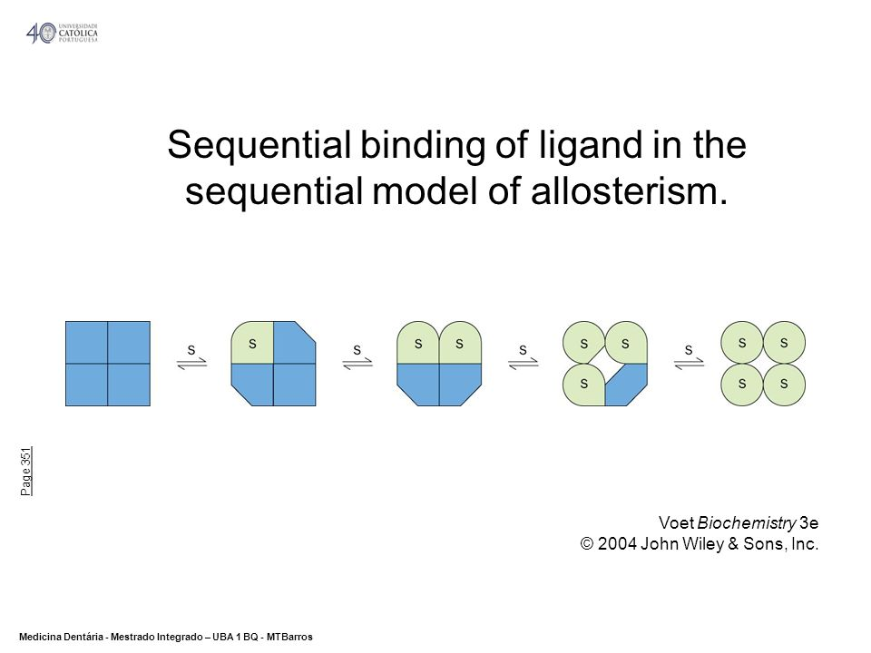 Sequential binding of ligand in the sequential model of allosterism.