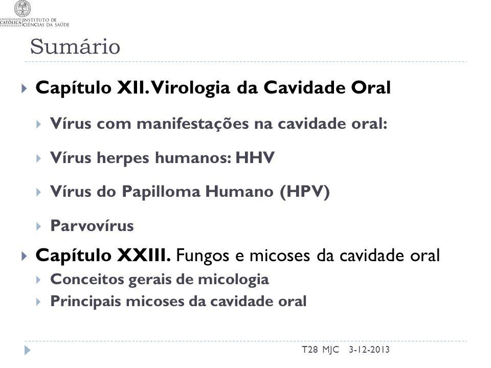 Sumário Capítulo XII. Virologia da Cavidade Oral