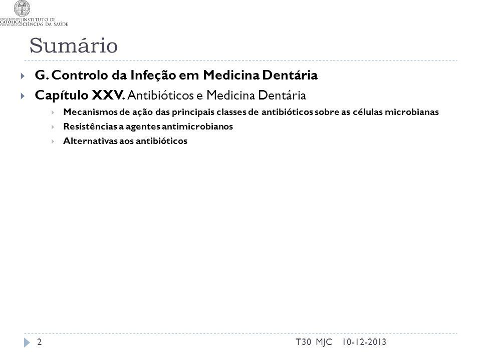 Sumário G. Controlo da Infeção em Medicina Dentária