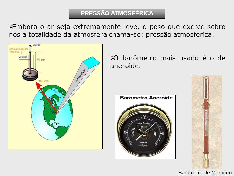 O barômetro mais usado é o de aneróide.