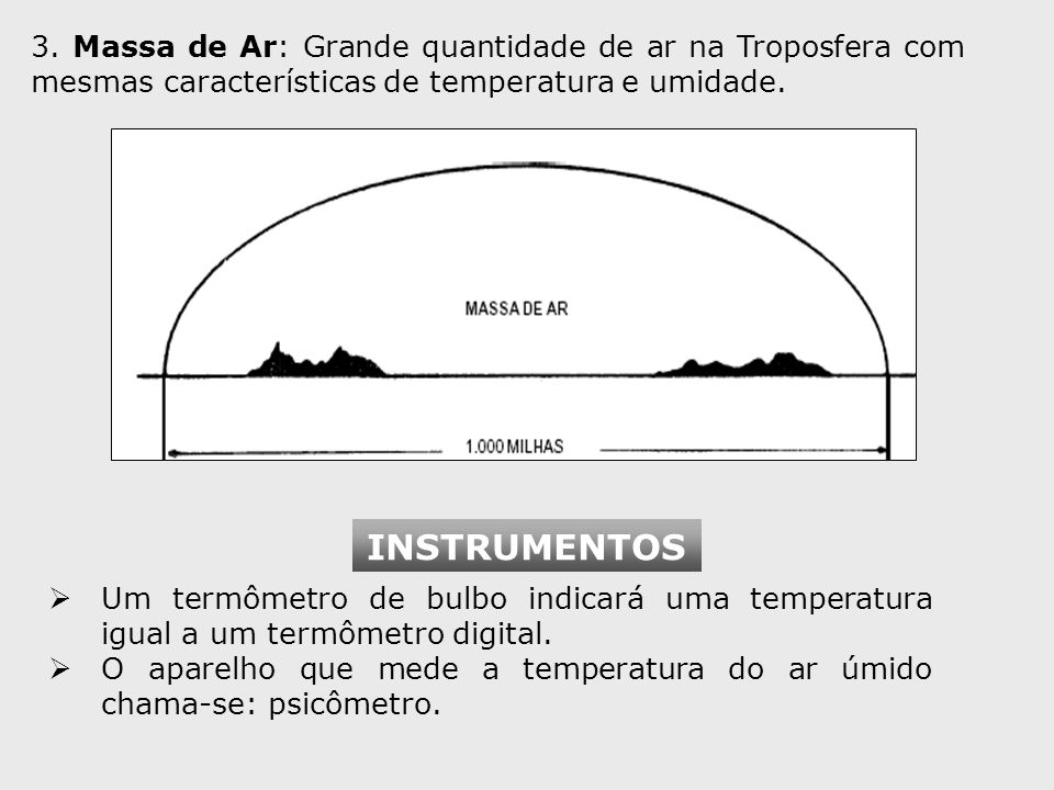 3. Massa de Ar: Grande quantidade de ar na Troposfera com mesmas características de temperatura e umidade.