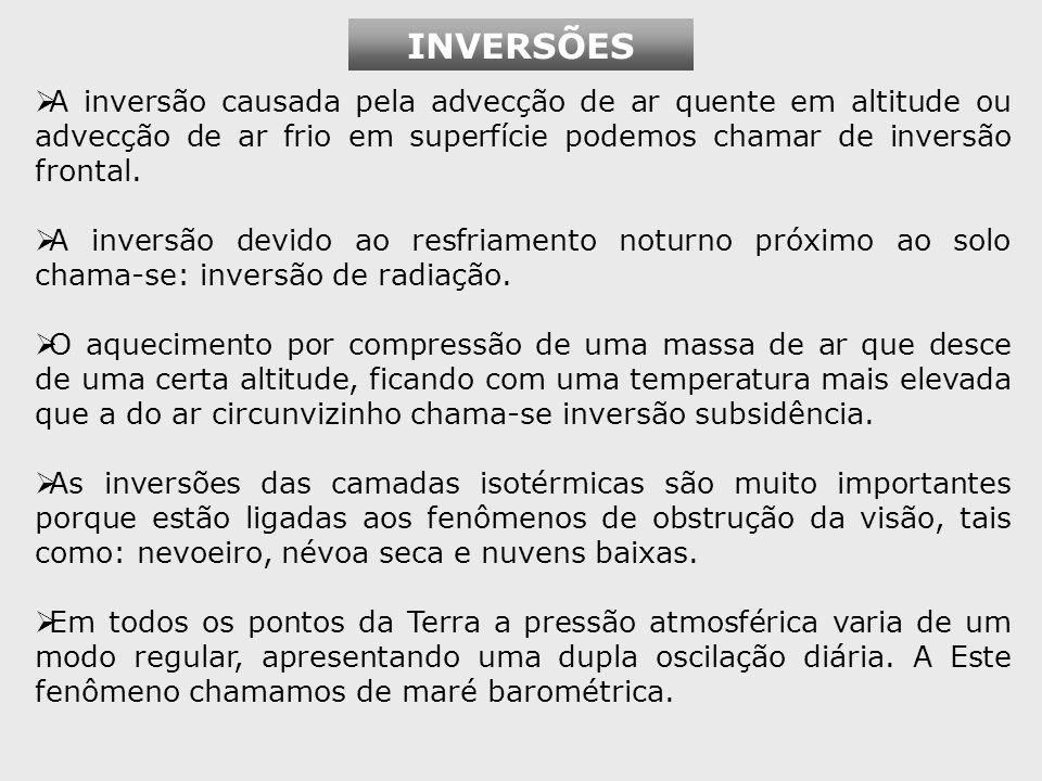 INVERSÕES A inversão causada pela advecção de ar quente em altitude ou advecção de ar frio em superfície podemos chamar de inversão frontal.