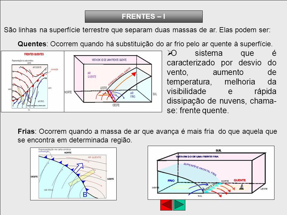 FRENTES – I São linhas na superfície terrestre que separam duas massas de ar. Elas podem ser: