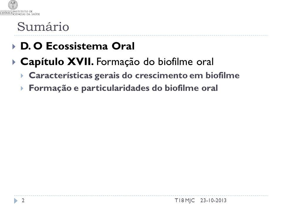 Sumário D. O Ecossistema Oral Capítulo XVII. Formação do biofilme oral