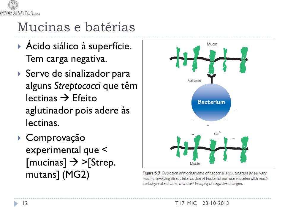 Mucinas e batérias Ácido siálico à superfície. Tem carga negativa.