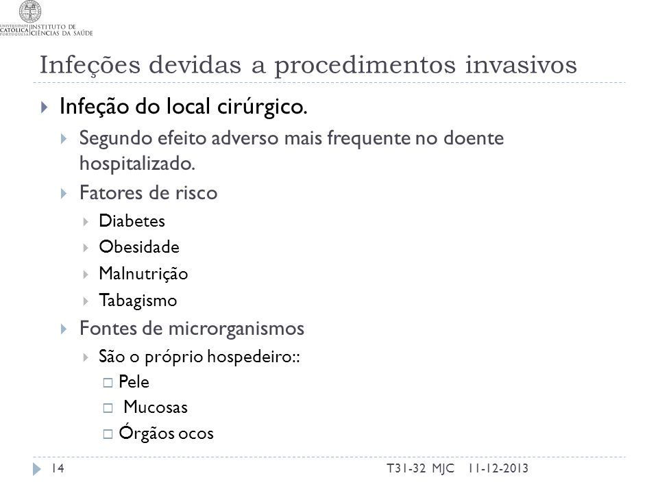 Infeções devidas a procedimentos invasivos