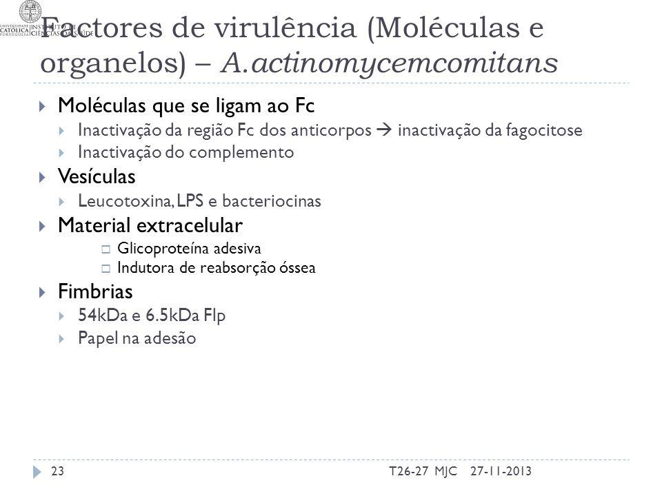 Factores de virulência (Moléculas e organelos) – A.actinomycemcomitans