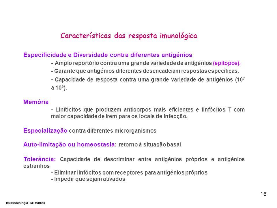Características das resposta imunológica