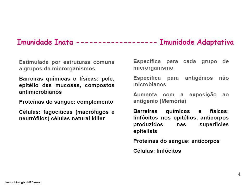 Imunidade Inata ------------------- Imunidade Adaptativa