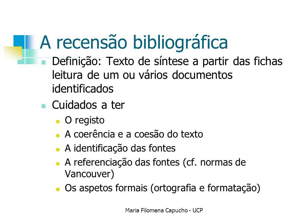 A recensão bibliográfica