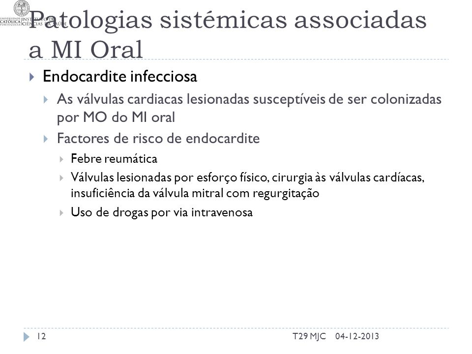 Patologias sistémicas associadas a MI Oral