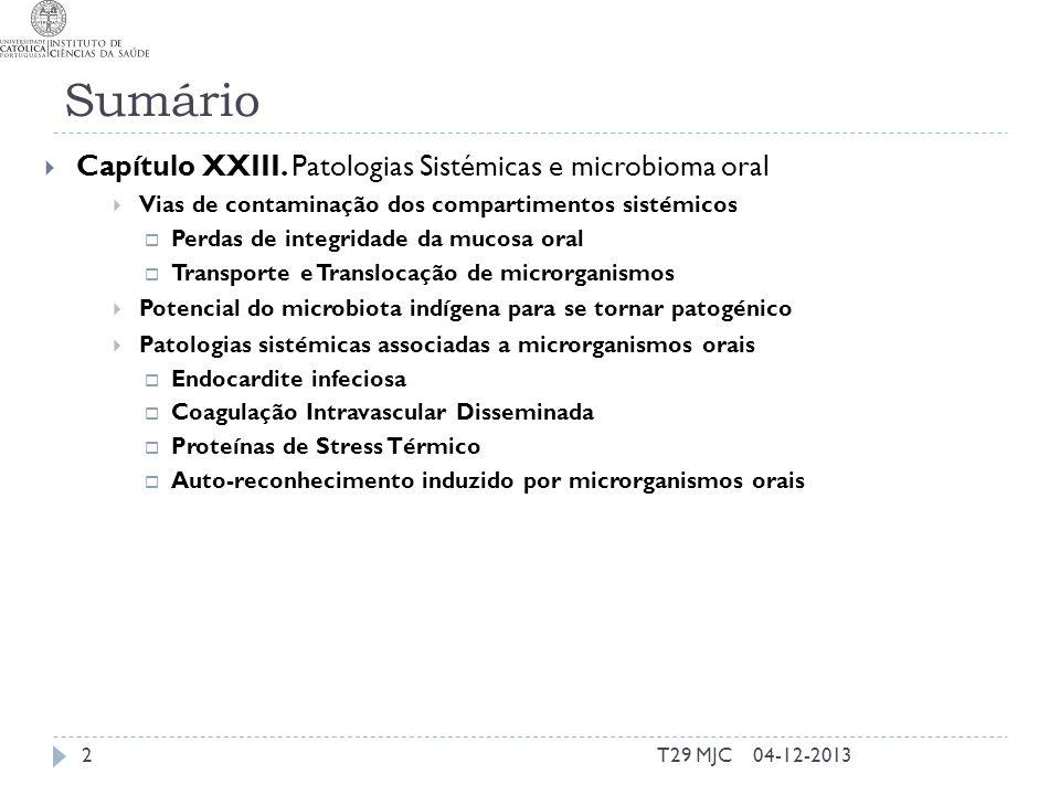 Sumário Capítulo XXIII. Patologias Sistémicas e microbioma oral