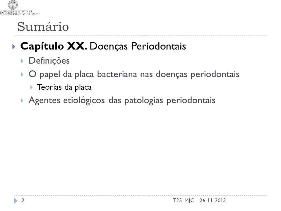 Sumário Capítulo XX. Doenças Periodontais Definições