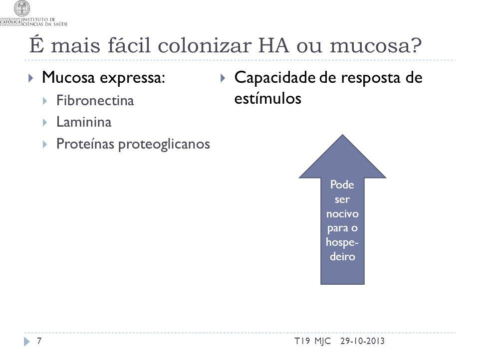 É mais fácil colonizar HA ou mucosa
