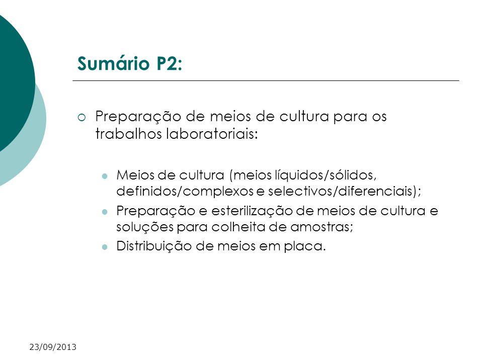 Sumário P2: Preparação de meios de cultura para os trabalhos laboratoriais: