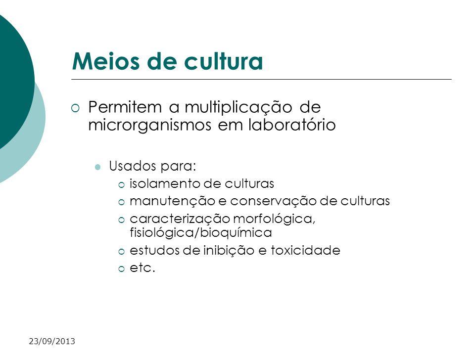 Meios de cultura Permitem a multiplicação de microrganismos em laboratório. Usados para: isolamento de culturas.