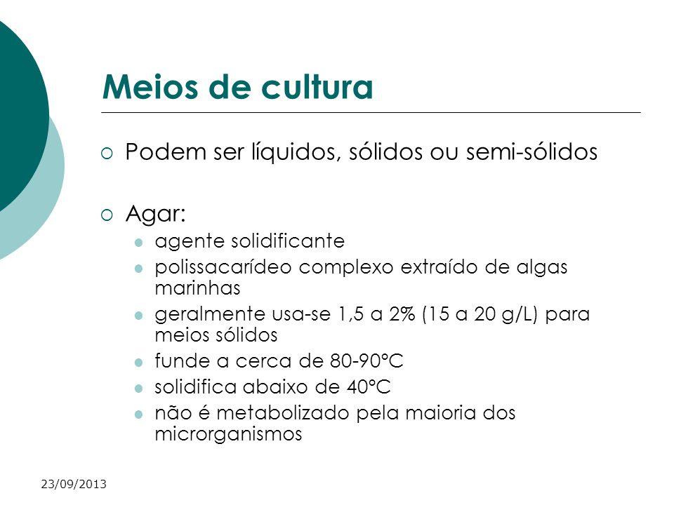 Meios de cultura Podem ser líquidos, sólidos ou semi-sólidos Agar: