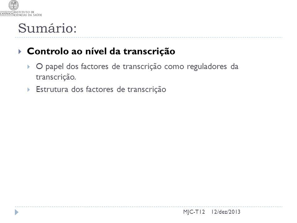 Sumário: Controlo ao nível da transcrição
