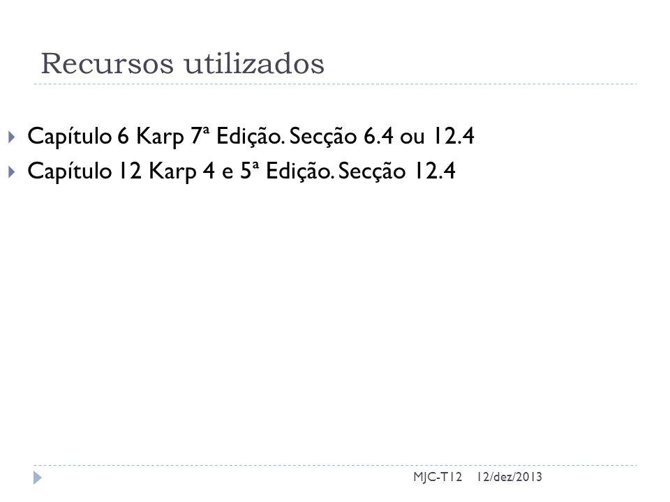 Recursos utilizados Capítulo 6 Karp 7ª Edição. Secção 6.4 ou 12.4
