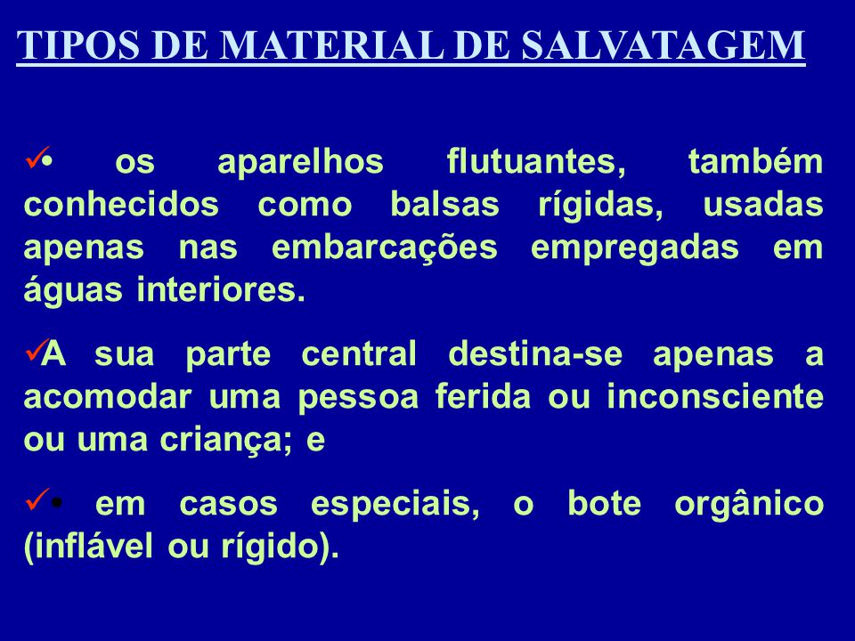 TIPOS DE MATERIAL DE SALVATAGEM