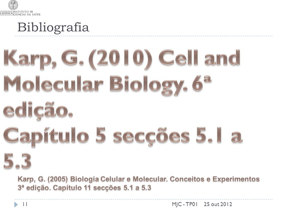 Karp, G. (2010) Cell and Molecular Biology. 6ª edição.